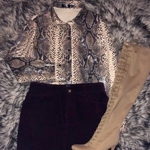 Missguided Snake Print Button Up Top